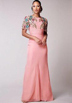 bc0f237889e Virgos Lounge Pink Adeianne Embellished Cocktail Maxi Wedding Party Dress 8  36  VirgosLounge  MaxiDress