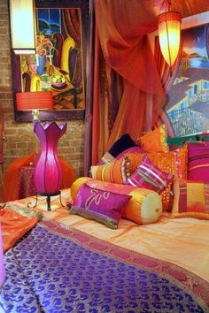 Moroccan/colorful bedroom decorating in purple, orange and raspberry