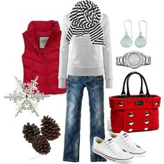 Cute for cold!  With black boots, not sneakers. #winter outfit #womens fashion #casual outfit