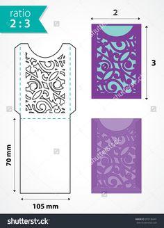 Die cut pocket envelope template with cutout pattern. Wedding invitation pocket envelope. Die cut
