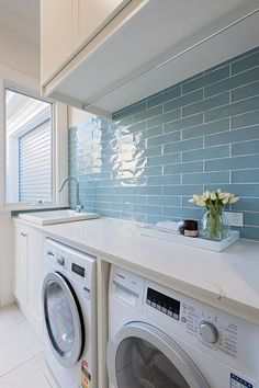 A small laundry room can be a challenge to keep laundry room cabinets functional, yet since this laundry room organization space is constantly in use, we have some inspiring design laundry room ideas. Laundry Room Tile, White Laundry Rooms, Farmhouse Laundry Room, Small Laundry, Laundry Room Cabinets, Storage Cabinets, Basement Laundry, Storage Shelves, Laundry Decor