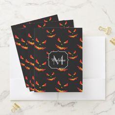 Sparkly Jack O'Lantern face Halloween Monogram Pocket Folder - Halloween happyhalloween festival party holiday