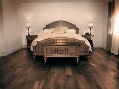 Hand scraped hardwood flooring - bedroom