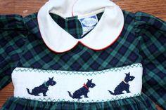 Vintage Children's Clothing / Girl's Plaid Smocked Scottie Dog Dress / 1980s / 2T. $25.00, via Etsy.