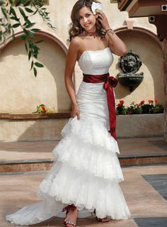 Strapless Sheath Tulle Lace Wedding Dresses
