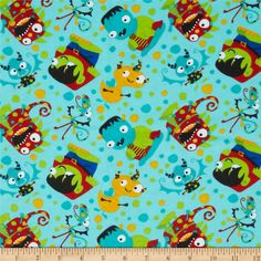 Flannel Tossed Monsters Blue from @fabricdotcom  From Camelot Cottons, this double napped (brushed on both sides) flannel is perfect for quilting, apparel and home decor accents. Colors include white, black, red, blue, green, orange, yellow, brown and shades of aqua.
