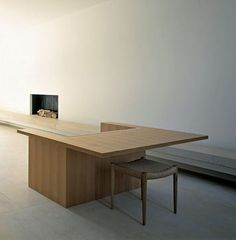 minimalist interior by JOHN PAWSON. Pawson House, London. armchair desk by Pawson for Driade. J.L. Moller Teak Stool .Photo by Richard Glover