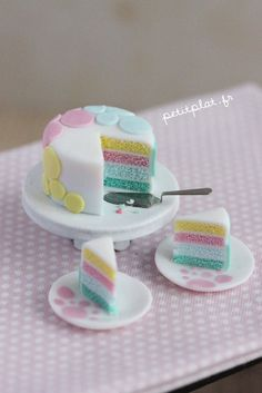 Dotted Fondant Cake in Pastel Shades - Dollhouse Miniature Food in 1:12 Scale - OOAK