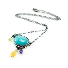 Inspiration: Silver Amazonite Pendant with Citrine, Amethyst and Olivine, Silversmith Pendant, Metalsmith Handmade Jewelry, OOAK Artisan Stone Jewelry on Etsy, $129.86 CAD