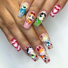 All handpainted 😇 – neon nail art Edgy Nails, Grunge Nails, Dope Nails, Stylish Nails, Pink Nails, Glitter Nails, Red Nail, Pastel Nails, Disney Acrylic Nails