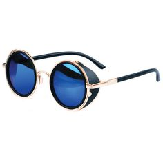 41cbbfbba1 Steampunk Sunglasses  Gold w  Blue Semi-Mirrored Lenses