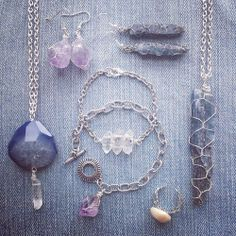 Handmade wire wrapped raw crystal jewellery with Kyanite, Quartz, Druzy and Amethyst.