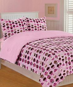 Pink Cupcakes Microplush Bedding Set #zulily #zulilyfinds  #thro #throbyml #marlolorenz #bedding #microplush #kids #girls #boys #comfy #cozy #home #decor #decorate #shop #buy #style #like #follow #share #spread
