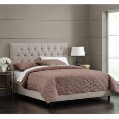 Skyline Furniture Light Grey Velvet Tufted Bed | Overstock.com Shopping - The Best Deals on Beds