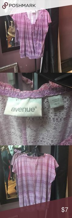 Avenue purple tee shirt Avenue purple tee shirt with cinch tie at neck, cap sleeve and elastic at bottom. Super thin and comfy. Size 18/20 Avenue Tops Tees - Short Sleeve