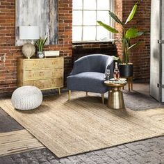 Jute rug for layering - natural and warmth Natural Area Rugs, Natural Rug, Natural Brown, White Area Rug, Beige Area Rugs, Blue Area, Rugs Usa, Tans, All Modern