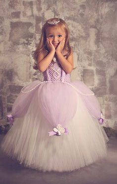Cute tutu dress - Sofia the First! I think I could actually make this and my little almost 3yo would be happy with this! :) MUST try it!