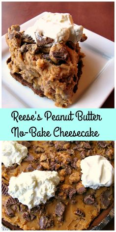 Sweet, no-bake peanut butter cheesecake filled with Reese's peanut butter cups. This Reese's Peanut Butter No-Bake Cheesecake is perfect for Christmas dessert, or giving as a gift!