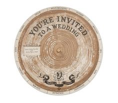 Redwood Wheel Wedding Invitation. Cool idea