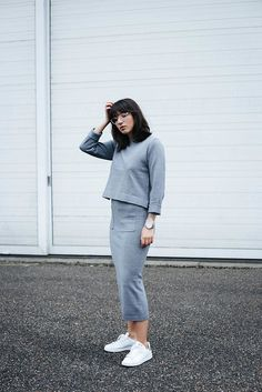 Skirt: all grey everything all grey outfit tumblr midi knitwear knitted grey pocket sweater cropped