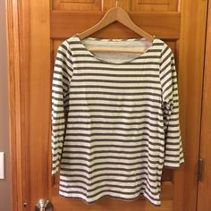 Jcrew grey and white striped tee 3/4 sleeve Jcrew grey and white striped tee. 100% cotton J. Crew Tops