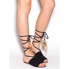 Wind Song Faux Suede Sandals BLACK ($14) ❤ liked on Polyvore featuring shoes, sandals, black, feather sandals, black tie shoes, braided sandals, woven sandals and black embellished sandals