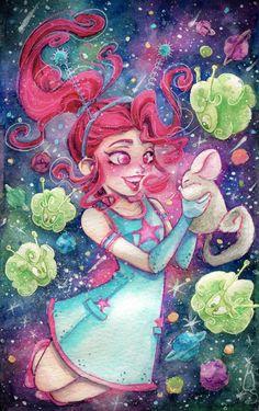 It's already here, my galactic Astrobabe with her Astrosheeps!  Sketchbook: Moleskine Inks: Winsor & Newton Watercolors: Van Gogh | Royal Talens, Kuretake UK and Sakura  #Illustration #Watercolors #Winsorandnewtoninks #Colorinks #inks #kuretake #sakura #spacegirl #pinkgirl #Loremi #Astrosheep