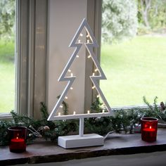 White Metal Christmas Tree Light With 20 LEDs From Lights4fun
