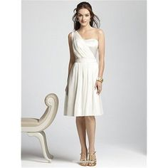 A-line One-shoulder Cocktail Length Chiffon Bridesmaid Dress
