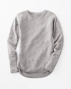 Looks incredibly comfortable and slightly fitted. Love gray Cashmere High-Low Shirttail Sweater