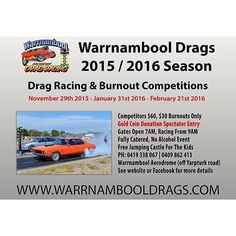 Just over a week until the first meet!  @ Warrnambool Aerodrome Off Yarpturk Rd  Gold Coin Spectator Entry Competitors $60 Burnouts Only $30 Gates Open 7am Racing Starts 9am Fully Catered  No Alcohol Event  #warrnambooldragclub #waddra #warrnambool #destinationwarrnambool #dragracing #burnouts #warrnambooldrags #november29 by warrnambooldrags http://ift.tt/1LWgNOG