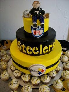 Some good football cake ideas! It would have to be Denver! Never Steelers Football Grooms Cake, Football Cakes, Sport Cakes, Cake Pictures, Love Cake, Let Them Eat Cake, Cake Designs, Amazing Cakes, Cupcake Cakes