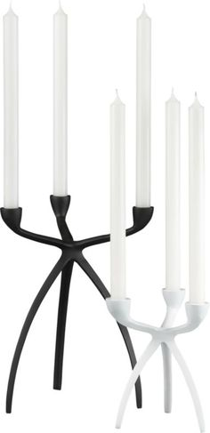 I love these candleholders! I want them both for the house!! Tri Taper Candleholders  | CB2