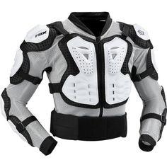 Fox Racing Titan Sport Jacket Men's Roost Deflector Motocross/Off-Road/Dirt Bike Motorcycle Body Armor - White / Medium