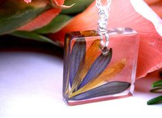 Real pressed flower petal botanical necklace Resin nature