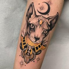 101 Amazing Egyptian Tattoo Designs You Must See! Sphinx Tattoo, Bastet Tattoo, Nefertiti Tattoo, Ankh Tattoo, Egypt Tattoo, Anubis Tattoo, Tattoo Script, Sanskrit Tattoo, Cleopatra Tattoo