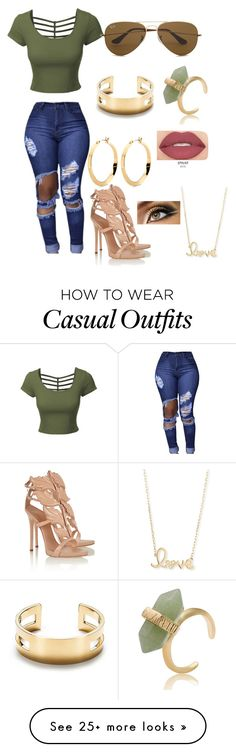 """casual but cute "" by queenkayla01 on Polyvore featuring LE3NO, Giuseppe Zanotti, Ray-Ban, Tiffany & Co., Sydney Evan and Smashbox"