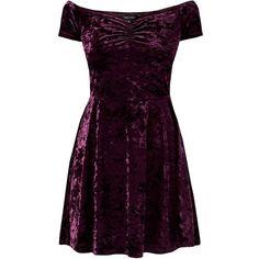 Purple Velvet Sweetheart Bardot Neck Skater Dress ($18) ❤ liked on Polyvore featuring dresses, short dresses, purple, vestidos, short sleeve skater dress, fit & flare dress, skater dress, purple dress and mini dress