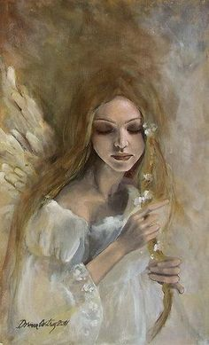 """""""Silence"""" from Angels series  Painting by Dorina Costras #art"""