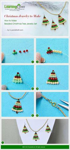 Christmas Jewelry to Make – How to Make Beaded Christmas Tree Jewelry Set: