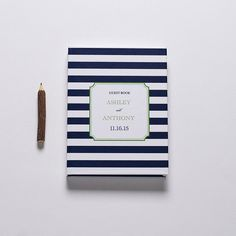 Custom Wedding Guest Book Navy Stripe by CraftyPiePress on Etsy