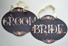 Bride and Groom Chalkboard inspired Wedding signs/Pair of 2
