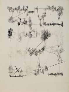 """flasd:    l e o n f e r r a r i A R T I S T  untitled 26/4/62, 1962  """"seminal written drawings which employ the gesture of handwriting and suggestions of language asconveyorsof emotion."""" minus space  ."""
