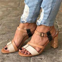 Summer High Heels Women Mixed Colors Retro Gladiator Open Toe Ladies Beach Shoes Sexy Buckle Strap Roman Sandals. #chunkyheels #sandalssummer #sandalsoutfit #sandalsheels #heels #heelsclassy #heelswithjeans #heelsprom #icuteshoes #heelswithsocks #heelsclassyelegant #heelsclassyelegant Roman Sandals, Mid Heel Sandals, Cute Sandals, Pumps Heels, Gladiator Sandals, Summer Heels, Summer Sandals, Ankle Shoes, Socks And Heels