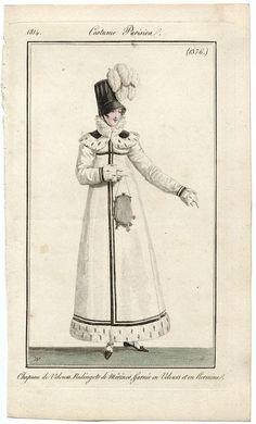 Redingote de merino garni de velours et ermine. 1814 costume parisien