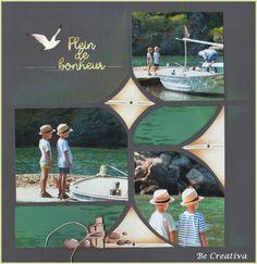 plein de bonheur Scrapbook Page Layouts, Scrapbook Pages, Fairy Stencil, Collages, Baby Album, 4 Photos, Layout Inspiration, Digital Scrapbooking, Stencils