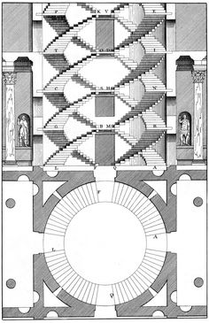 """Andrea Palladio, circular staircase from his """"The four books of architecture"""", century. Architecture Drawings, Classical Architecture, Architecture Plan, Architecture Details, Ancient Architecture, Andrea Palladio, Architecture Classique, Elevation Drawing, Interior Stairs"""