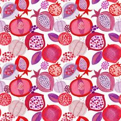 Design, pattern, colour Textile and surface pattern design Food Patterns, Textile Patterns, Textiles, Print Patterns, Fabric Wallpaper, Pattern Wallpaper, Surface Pattern Design, Pattern Art, Pomegranate Art