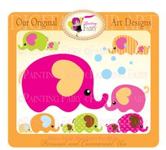 Cliparts Buy 2 get 1 Free Lovely Mom and by PaintingFairyClipart, $4.00,  Baby Elephant clip art Bubbles designer layout digital images personal & commercial use,  Everything Else Graphic Design printable clip arts scrapbooking clipart birthday card making pink elephant supply handmade invitations designer resource cu announcement clipart children brown party mothers day animals nursery elephants cu cute hearts clipart green elephants kids new baby girl shower