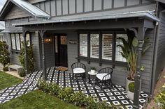 The Block Facade Reveals House Paint Exterior, Exterior House Colors, House With Porch, House Front, Patio Design, House Design, Porch Tile, Front Verandah, Front Porch